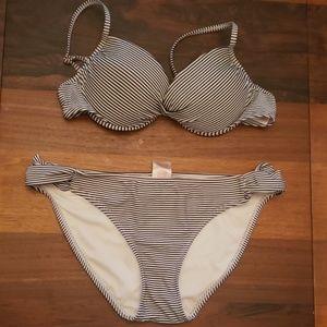 White and dark blue striped bikini